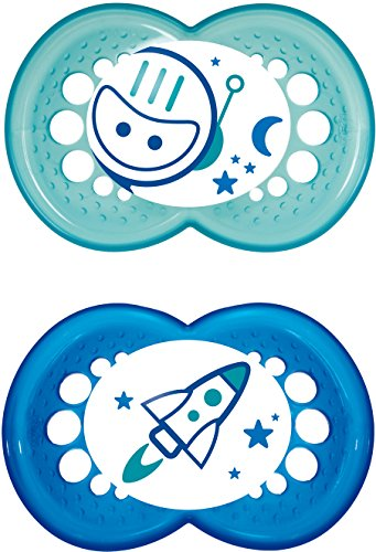 MAM Night Glow in The Dark Soothers Suitable for Travel Case 12 Months + (Blue/Green designs may vary) Test