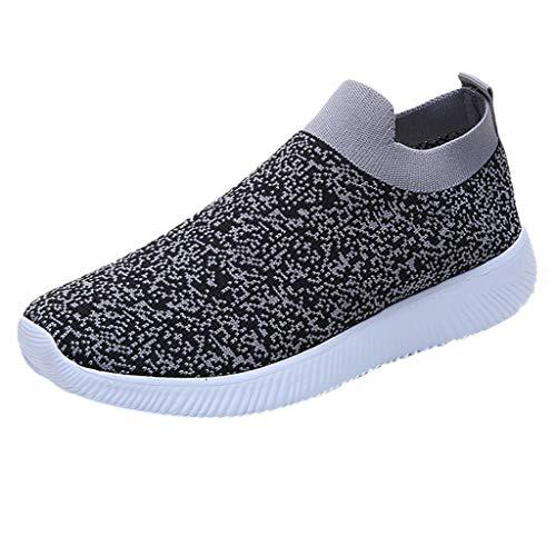 uhe Outdoor Mesh Lässige Sportschuhe Atmungsaktive Schuhe Turnschuhe Sneakers Leichte Gestrickte Schuhe Racer Fitnessschuhe (Grau,EU-39/CN-40) ()