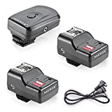 Neewer 16 canales inalámbricos de flash remoto Speedlite, FM Radio de disparo con 2.5mm Receptor PC para unidades de flash con zapata caliente universal