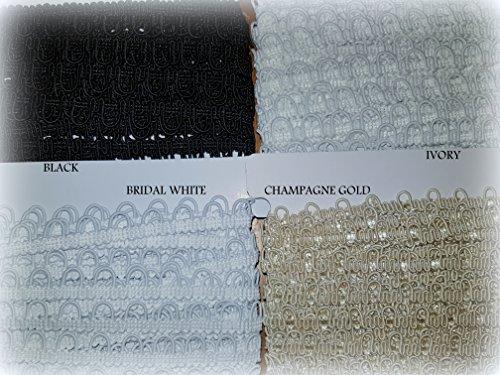 Knopfloch, Schleifenband, 10 mm Abstand, für Brautkleid, Trimmverschluss 1 m Elfenbeinfarben blass -