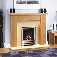 "Gas Chrome Oak Surround Cream Marble Silver Coal Flame Fire Modern Big Fireplace Suite - Large 54"" - UK Mainland Only"