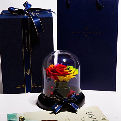 Fleur éternelle,Cadeau d'anniversaire La rose de verre Fleurs Décorations de mariage Le jour de noël Fleurs artificielles-H 16x14cm(6x6inch)