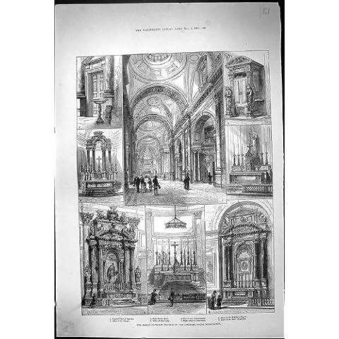 Impresión Antigua del Altar 1884 de Kensington del Oratorio de la Iglesia Católica Romana José Maria Magdalen