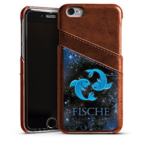 Apple iPhone 4 Housse Étui Silicone Coque Protection Signes du zodiaque Poissons Astrologie Étui en cuir marron