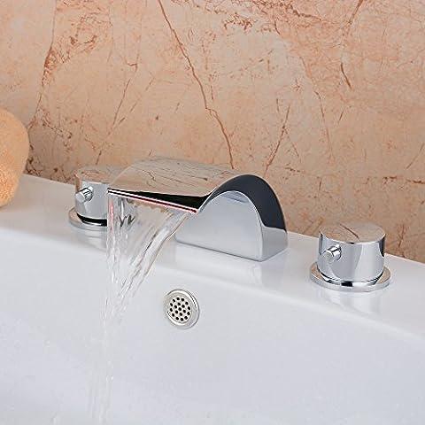 Hiendure® Color Changing LED Widespread Waterfall Chrome Bathroom Sink Faucet Two Handles 3 Holes Bathtub (2 Maniglia Diffuso Rubinetto Di Lavabo)