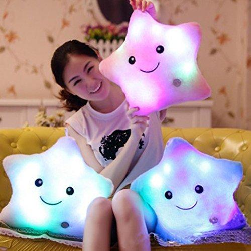 sunnymi Rainbow Weihnachten Kind Mädchen Jungen Stern Kinder LED Licht Kissen,Plüsch-Kissen Camping Reise Weiches Home Party Dekoration (Stern, Rosa)