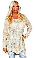 10190 Fashion4Young Damen Transparenter Langarm-Pullover Long Pulli verfügbar in 3 Farben 2 Größen