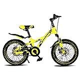 Paseo Bicicleta Bicicleta Plegable portátil Amortiguador de vehículo recreativo Estudiantes Masculinos y Femeninos Bicicleta Velocidad única 18 Pulgadas (Color : Yellow, Size : 135 * 60 * 90cm)