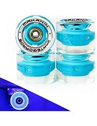 4LED Bombilla ruedas para longboard y skateboard tarjeta Penny Minicruiser City 60* 45MM y 70* 51mm a elegir–PU dureza 85A–makanih Spin Fire–1año de garantía, azul, Minicruiser 60*45mm
