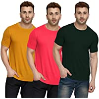 CHKOKKO Half Sleeve Cotton Casual Round Neck Tshirts Henley T Shirts for Men Combo of 3 Dark Bottle Green Peach Pink Mustard L Size