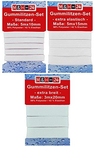 Gummiband weiß 10-15-20-mm breit zum Nähen, Wäschegummi Gummizug Gummilitze Elastisches Elastic Band Nähzubehör (13 m)