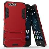 Cover Huawei P10 Plus, Custodia Huawei P10 Plus, MHHQ 2 in 1 nuovo Armour stile resistente Hybrid Dual Layer Armatura Defender PC + TPU Custodie con supporto [Custodia antiurto] per Huawei P10 Plus -Red