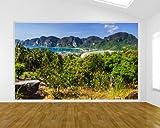 Vlies Fototapete - Blick auf Phi Phi Island - Thailand - 230x150 cm - inklusive Kleister - Tapetenkleister – Bild auf Tapete – Bildtapete – Foto auf Tapeten – Wand – Wandtapete – Vliestapete – Wanddeko - Design
