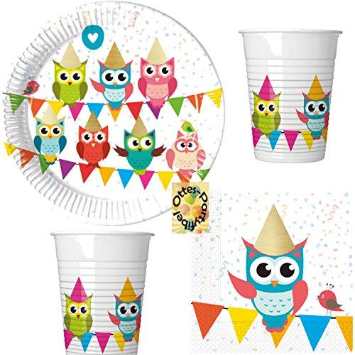 HHO My Best Friend Owl Eulen-Party Partyset 52tlg. Teller Becher Servietten für 16 ()