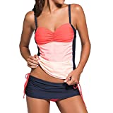 Damen Two Piece Tankini Bikini-Sets Elegant Farbdruck Top + Slip Orange 3XL