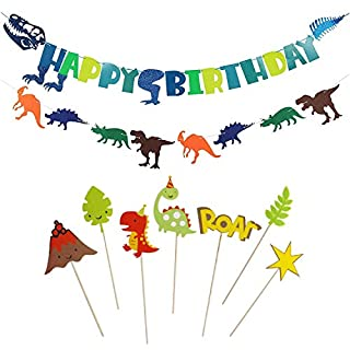 Dinosaur Happy Birthday Banner - Dinosaur Party Supplies Decorations for Boys Girls-Dinosaur Theme Party Supplies Decorations, 2 Pack Banners