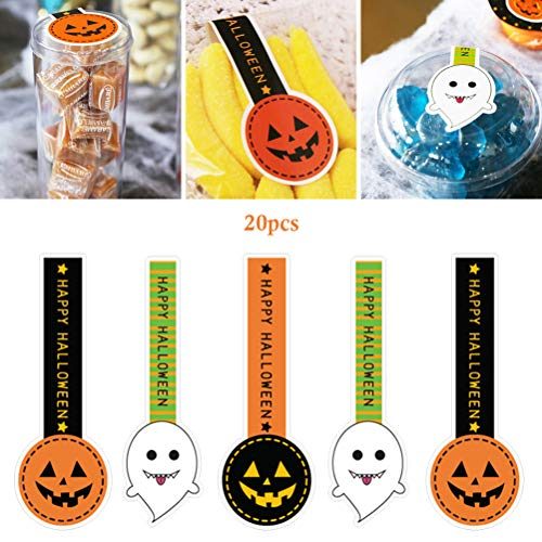 Pywee Halloween Long Sealing Stickers Geschenkbeutel Treats Bag Backsticker für Candy Cookie Biscuit Chocolate Bags