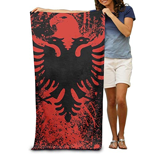 KIMIOE Badetücher Duschtücher Strandtücher Albanian Flag Bird Beach Towels Luxury Soft Eco-Friendly Printing Design Outdoors,Non-Toxic décor 31