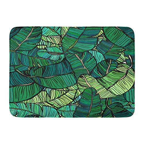LIS HOME Fußmatten Bad Teppiche Outdoor/Indoor Fußmatte Muster Bananenbaum Blätter grün bunt Palm Retro Leaf Kokos Smaragd Badezimmer Dekor Teppich Badematte -