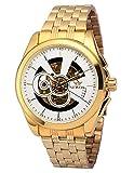 EASTPOLE Herren Mechanische Armbanduhr Golden Skelett Uhr PMW494 + EASTPOLE Geschenkbox
