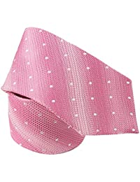 Cravate soie pois blancs sur rose
