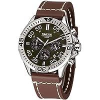 Time100 Cronografo in Acciaio 100m di Impermeabilità Subacqueo Uomo#W70104G.02A - Pulsante Politico Vintage