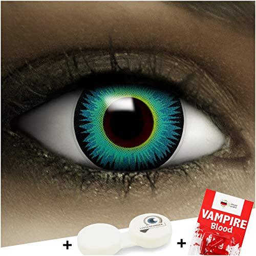Farbige braune Kontaktlinsen Twilight + Kunstblut Kapseln + Behälter von FXCONTACTS®, weich, ohne Stärke als 2er Pack - perfekt zu Halloween, Karneval, Fasching oder Fasnacht
