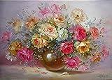 Yyboo Bunte Minion Blume DIY Malen nach Zahlen Abstrakte Ölgemälde auf Leinwand Einzigartiges Geschenk für Wohnzimmer Dekoration 40x50cm