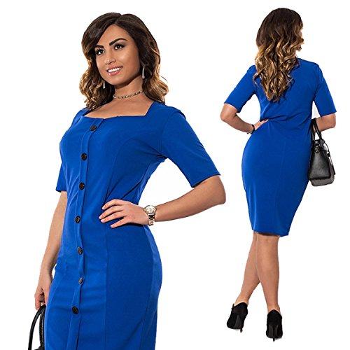DD UP Damen Kurzarm Slim Einfarbig Rundkragen Übergröße Sexy Kleider Blue