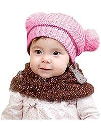 ODJOY-FAN-bambino inverno Tenere caldo Doppia palla Cappello lavorato a  maglia-Sciarpa ba95199b5716