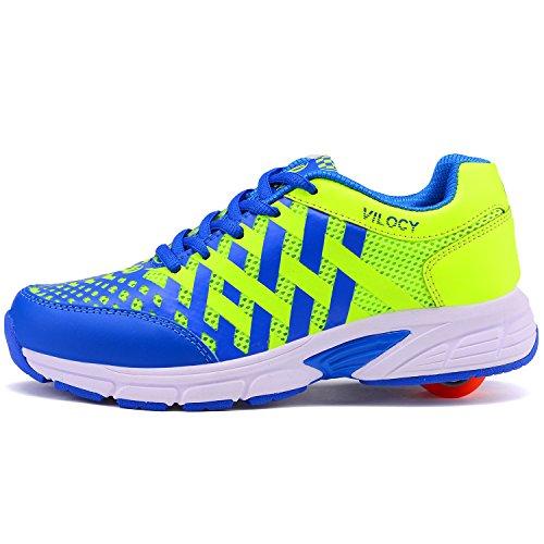 Vilocy Unisex-Kinder Sneakers Rotelle Scarpe (blue, 40)