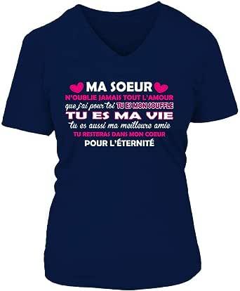 TEEZILY T-Shirt Femme Ma Meilleure Amie nest Peut Etre Pas Ma Soeur De Sang mais Elle Est Ma Soeur De