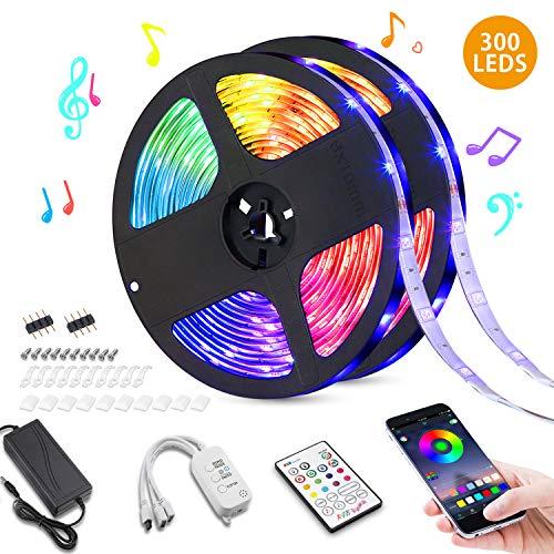 Bluetooth LED Streifen Kit (2x5m), VITCOCO Farbwechsel selbstklebend LED Lichtleiste, Sync mit Musik, RGB 5050, mit Kontroller 23 Tasten Fernbedienung 12V Netzteil für Haus, Party Dekoration