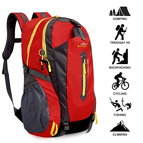 Wandern Rucksack, Multifunktions Wasser-resistent Casual Camping Trekking Rucksack f¨¹r Radfahren Reisen Klettern Outdoor Sport - Rot ()