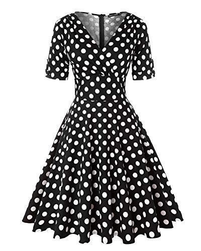 MINTLIMIT Damen Polka Dot Kleider 50s Stil Kurze Ärmels Rockabilly Vintage Kleid (Polka dots Schwarz,Größe M) (Frauen Polka-dot Kleid)