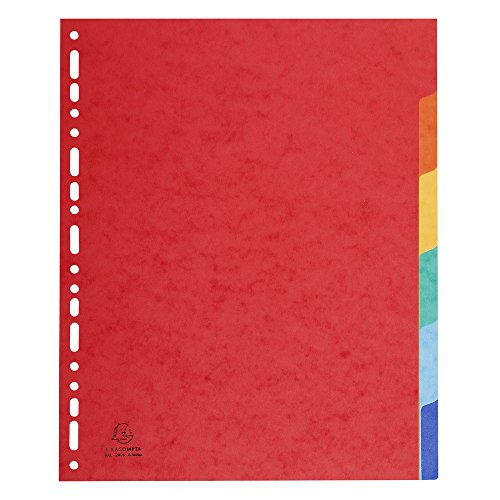 Exacompta - Réf. 2606E - Intercalaires carte lustrée 400g 6 positions - A4 maxi - couleurs assorties