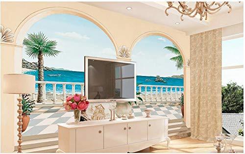 Nevso 3D Tapete Wandmalerei Fresko Wandaufkleber Benutzerdefinierte Fototapete Stereoskopischen 3D-Mediterranen Bögen Landschaftsmalerei Tv-Kulisse Wandbild Tapeten400cmX280cm