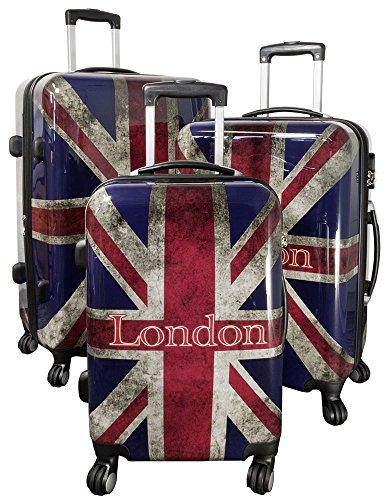 Trendyshop365 Hartschale Rollkoffer Koffer-Set 3-teilig London Großbritannien Flagge 4 Räder England