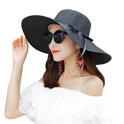 LAEMILIA Summer Beach Sun Hats for Women Floppy Wide Brim Straw UV Cap Foldable Holiday Travel