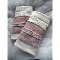 Stulpen Pulswärmer Armstulpen genäht gefüttert weiß rosa Wolle Jaquard Baumwolle