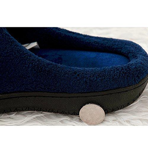 Alxcio Hausschuhe Wärmendem Fleece Hausschuhe mit Gummisohle Pantoffeln für Unisex Herren Damen (43-44.5 EU/9-10 UK, Grau) Dunkelblau