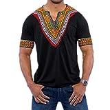 VEMOW Mode Sommer Männer Slim Fit V-Ausschnitt Gedruckt Muscle T-Shirt Beiläufige T-stücke Pullover Tops Bluse (EU-50/CN-M, Schwarz)