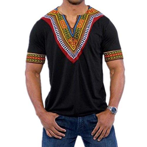 VEMOW Mode Sommer Männer Slim Fit V-Ausschnitt Gedruckt Muscle T-Shirt Beiläufige T-stücke Pullover Tops Bluse (EU-56/CN-2XL, Schwarz)