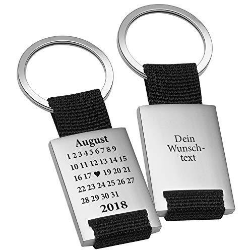 Schlüsselanhänger Schönster Tag Schwarz mit Gravur - Geschenk für Frauen Männer Jahrestag Valentinstag Personalisiert