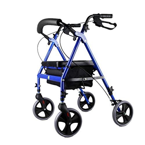 Carro Portátil para El Hogar Personas Mayores Pueden Sentarse En La Carriola Carrito De Cuatro Ruedas Caminante Auxiliar Plegable, Azul