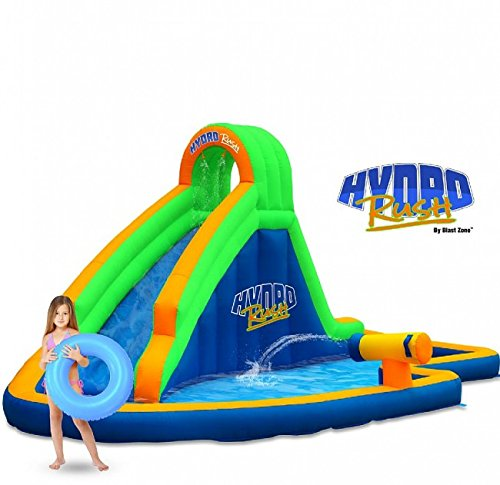 Blast Zone GE-HYDRORUSH Inflatable Curved Water Slide with Cannon