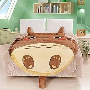 MeMoreCool, copripiumino in flanella con motivo Totoro/gatto/gufo, morbido, rimovibile e lavabile, Cotone, Brown Totoro, 1Piece