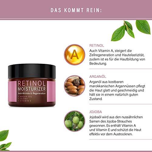 Retinol Crème – Mother Nature® | Anti-Aging | Feuchtigkeitsspender Gegen Trockene Haut & Altersanzeichen | Hautstraffung & Hautregeneration Für Pralle, Jugendliche Haut | Inklusive Hyaluronsäure - 5