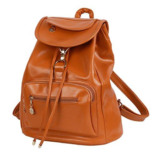 CrazySell Womens Ladies PU Zaino Moda Schoolbag Borsa a tracolla in pelle sintetica Zaino giornaliero (Marrone Ecopelle Borsa Borsa)