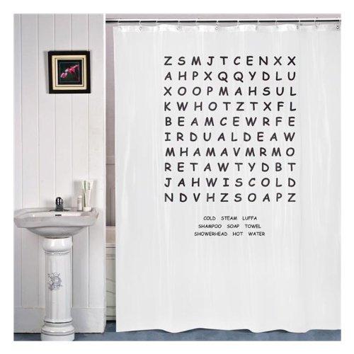 Ausgefallener Duschvorhang - Shower Curtain Kreuzworträtsel Badezimmer Badzubehör 180 x 180 cm 100 % PEVA